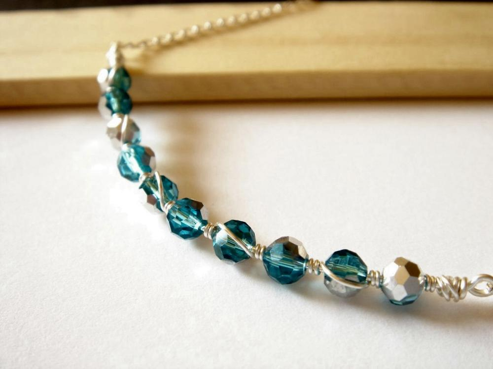 Half Silver Plated Aquamarine Swarovski Crystal Wire Wrapped Sterling Silver Necklace